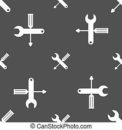 reparatur, service, graue , muster, werkzeug, symbol., schraubenzieher, wrench., hintergrund., vektor, seamless, icon., zeichen