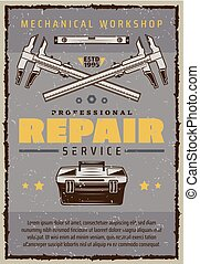 reparatur, service, plakat, mechaniker, auto, werkzeugkasten