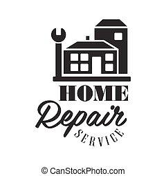reparatur, und, renovierung, service, schwarz weiß, zeichen,...