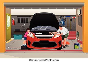 reparatur, vater, töchterchen, auto