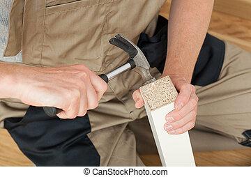 reparatur, von, der, tisch, bein