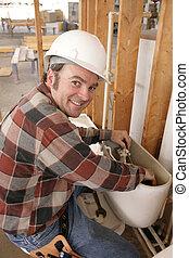 reparaturen, klempner, toilette