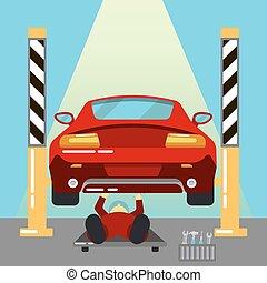 reparaturen, service., work., auto, maintanence., abbildung,...