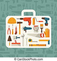 reparer, arbejder, icons., konstruktion, illustration, redskaberne