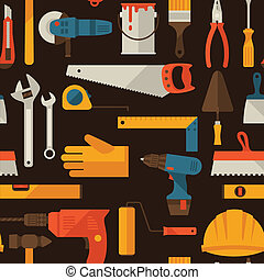 reparer, arbejder, mønster, seamless, icons., redskaberne