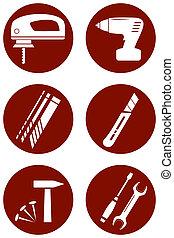 reparer, iconerne, hos, konstruktion, redskaberne