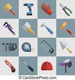 reparer, konstruktion, redskaberne