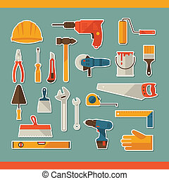 reparer, og, konstruktion, arbejder, redskaberne, mærkaten, ikon, set.