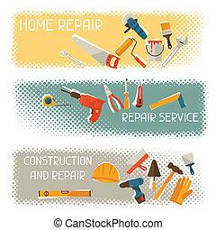 reparer, og, konstruktion, horisontale bannere, hos, redskaberne, icons.
