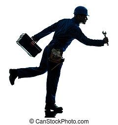 reparer, silhuet, arbejder, løb, urgency, mand