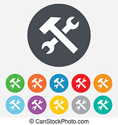 reparer, værktøj, tegn, icon., tjeneste, symbol.