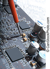 reparera, a, dator, surface-mounted, bord