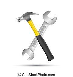 reparera, affär, infographic., skiftnyckel, skruvmejsel, ...