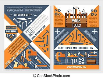 reparera, affisch, verktyg, arbete, konstruktion, hem