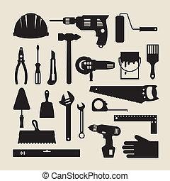 reparera, arbete, set., konstruktion, redskapen, ikon