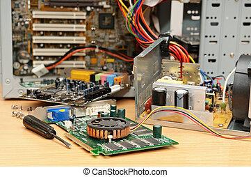 reparera, av, a, dator