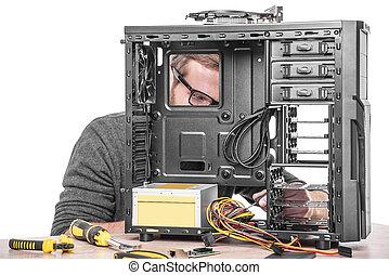 reparera, av, computer.