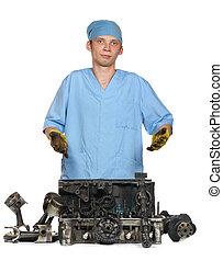 reparera, av, den, bil, motor