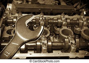 reparera, av, den, motor