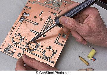 reparera, av, strömkretsen stiger ombord