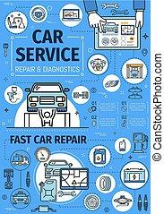 reparera, centrera, service, bil, diagnostiskt, klen ...