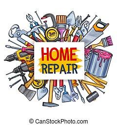reparera, conctruction, affisch, verktyg, design, hem