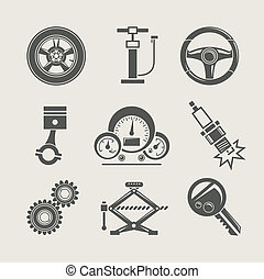 reparera, del, sätta, ikon, bil