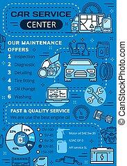 reparera, diagnostiskt, centrera, service, bil