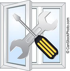reparera, fönster, verkstad, emblem
