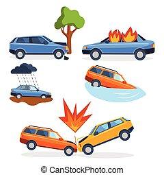 reparera, krasch, katastrof, nödläge, bil, kollisionen, ...