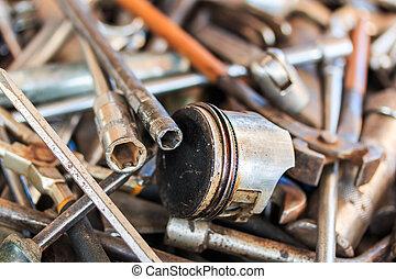 reparera, redskapen, motorcykel