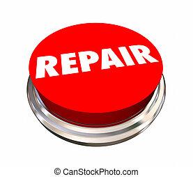reparera, runda, röd knapp, rikta, mekaniker, 3, illustration
