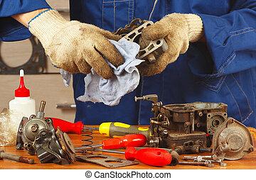 reparera, särar, av, motor, in, den, verkstad