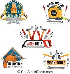 reparera, sätta, hus, verktyg, arbete, isolerat, symbol