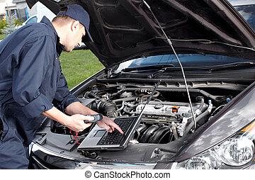 reparera, service., arbete, bil mekaniker, bil