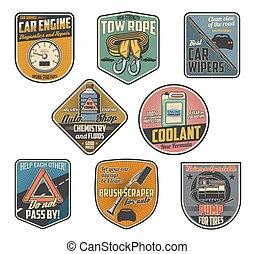 reparera, service, bil, tillbehör, särar, bil