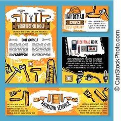 reparera, skiss, affisch, arbete, vektor, hem, redskapen
