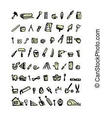 reparera, skiss, ikonen, design, hem, din