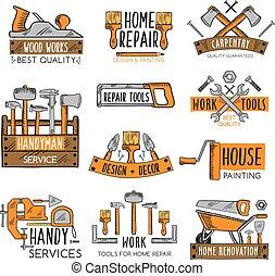 reparera, skiss, sätta, emblem, verktyg, arbete, design, hem