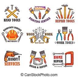 reparera, skiss, verktyg, konstruktion, design, hem