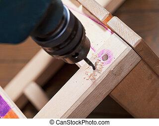 reparera, stol, drill