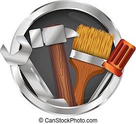 reparera, symbol, verktyg