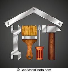 reparera, verktyg, design, affär, hem