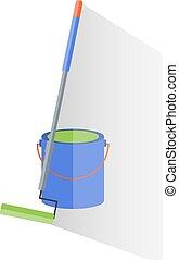 reparera, verktyg, hink, målning, färg