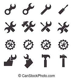 reparera, verktyg, ikon