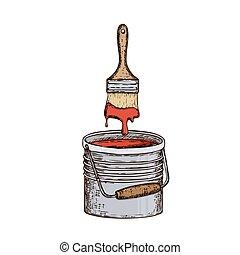 reparera, verktyg, illustration