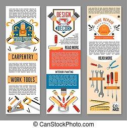 reparera, verktyg, konstruktion, baner, hem