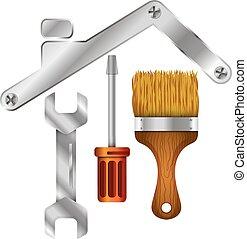 reparera, verktyg, symbol, affär, hem
