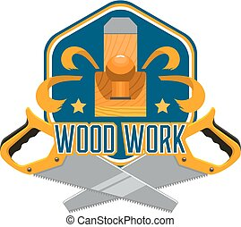 reparera, verktyg, träbearbetning, design, hem, emblem