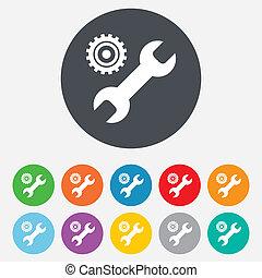 reparera, verktyg, underteckna, icon., service, symbol.